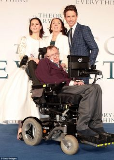 Eddie Redmayne won an Academy Award in 2015 for his mesmerising depiction of Professor Stephen Hawking (pictured with Redmayne, the actor's co-star Felicity Jones and Jane Hawking).