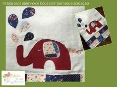 Aplicação em tecido de fralda para paninho de boca - elefantinho - Além Brasil