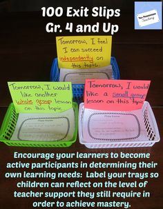 Let your #Exit #Slips do double duty for you! Change the labels on your baskets to assess your learners' perception about what they have learned and allow the Exit Slip itself to assess content.