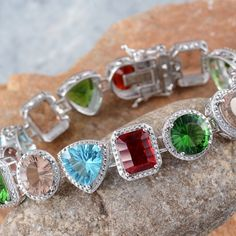 Red, Blue and Champagne Helenite Bracelet in Platinum Overlay Sterling Silver (Nickel Free)