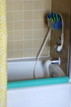 L to the third: Covering your tracks: pool noodle to shower door track cover