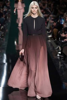 Elie Saab | Fall 2014 RTW #ombre #degrade #pleats #maxidress
