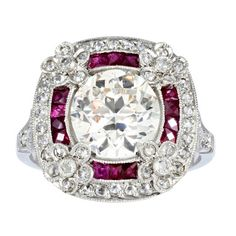 Art Deco 2.24ct Diamond and Ruby Ring - love this