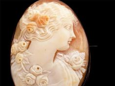 Large Finely Hand Carved Shell Antique Cameo Sterling Silver Victorian Brooch
