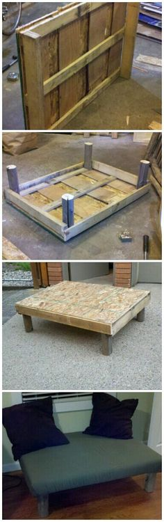 Pallet made into a nice padded bench @Emily Luckett this will be my wedding gift to you ;)