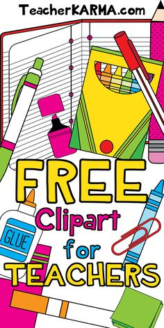 FREE Clipart for TEACHERS. School supplies. TeacherKARMA.com