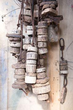 Cork floats belonging to Cadgwith fisherman Nigel Legge.
