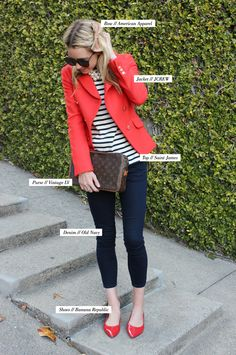 classy jcrew blazer just bought ! Love te color -job interview look Casual Outfits, Fashion Outfits, Womens Fashion, Coral Blazer Outfits, Denim Outfits, Looks Jeans, Look Blazer, Mode Plus, Look Chic