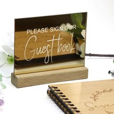 Mirror Gold Guest Book Sign - Acrylic with Timber Base - Printed Wedding Table Decoration -  Reflective Glossy Sign Guest Book Table, Guest Book Sign, Gold Table Numbers, Wedding Decorations, Table Decorations, Book Show, Wishing Well, Memory Books, The Perfect Touch