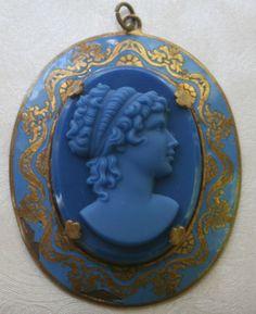 Vintage blue glass cameo