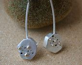 Sterling Silver Hollow Form Dangle Earrings with 14 kt Gold