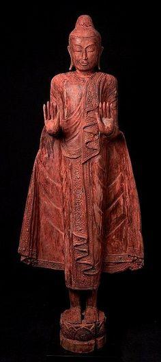 Large old wooden Buddha statue. Abhaya mudra early century originating from Burma Nr: Hindu Deities, Hinduism, East Asian Countries, Eastern Philosophy, 11th Century, Buddhism, Religion, Statue, Art