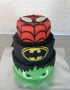 Spiderman, Batman, and Hulk Cake my son would love this