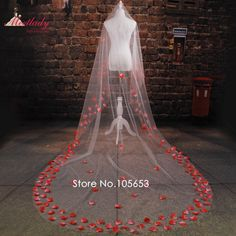 >> Click to Buy << Cheap Real Samples Cathedral Train 3m Rose Petals Wedding Veil One Layer Flowers Bridal Veil  Wedding Accessories RC13 #Affiliate