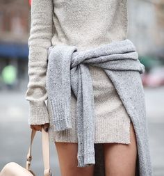 Layering a sweater over your sweater dress. Genius.