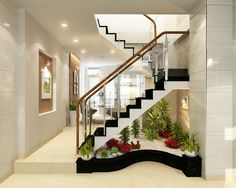21 Inspiring Under Stairs Pebble Garden Ideas -Get the inspiration you need to plan your own indoor pebble garden for under your staircase. Home Stairs Design, Interior Stairs, Home Design Decor, Home Interior Design, House Design, Modern Interior, Staircase Wall Decor, Stair Decor, Small Garden Under Stairs