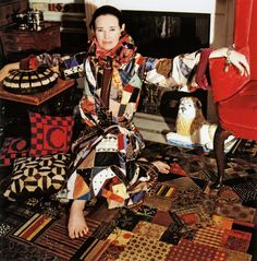 Gloria Vanderbilt in the master bedroom at 45 East 67th Street wearing an Adolfo outfit inspired by the room, photographed by Horst P. Horst for Vogue, February 1970.