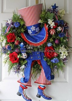 July 4th Wreath-Uncle Sam-Patriotic Wreath- by Petals & Plumes on Etsy   https://www.facebook.com/petalsnplumes