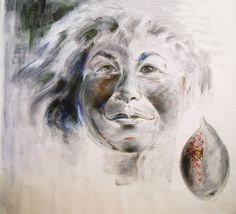 """BEŞ HARF sergisi: FATMA TÜLİN """"İlk Fısıltı"""" Tuval üzerine akrilik, fötr kalem, 195x206cm, 2016"""