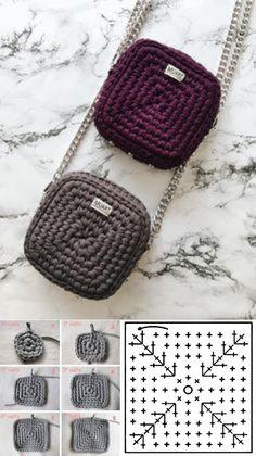 Copie e lucre: Bolsa pequena de fio de malha ⋆ De Frente Para O Mar - Stricken Häkeln mit Kindern - Amigurumi , Crochet , Knitting Crochet Bag Tutorials, Diy Crochet, Crochet Crafts, Crochet Projects, Diy Crafts, Crochet Handbags, Crochet Purses, Crochet Bags, Free Crochet Bag
