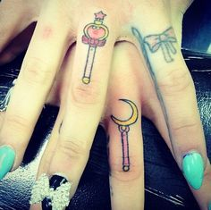 Sailor moon finger tattoos