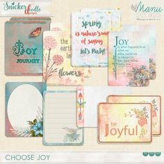 Choose Joy Journal Cards by Snickerdoodle Designs.  This is a pack of 14 journal cards, designed to coordinate with Choose Joy.  5 cards include inspirational quotes, while 8 embellished cards are blank so that you may add your own favorite quotes or journaling notes.