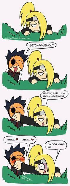 Deidara & Tobi. <3 Akatsuki #naruto #shippuden You'll only get it if you've seen Naruto Shippuden. LOL