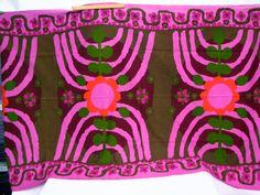 Danish Modern Fabric Curtain Pair 60s Mod Pop art Lots of yardage Boras Boras Purple Hot Neon Pink. $225.00, via Etsy.