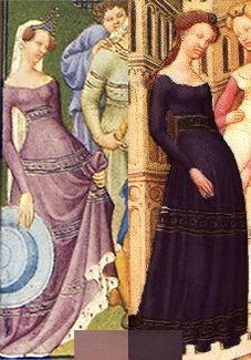 Photoshopped colors to match two of medeltidsmode.se's fabrics.   Cotehardie with interesting embellishment. Probably 14th century, appears in The Belles Heures, which first appears in an inventory note of the Duke de Berry's possessions in 1408-1409.