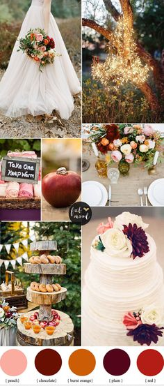 Burnt Orange Peach and Plum Wedding - Autumn wedding colours palette : apple cider , colorful leaves, twinkle lights, cozy blankets , and the yummiest dinner feast ( apple crumbles , lots of yummy pies