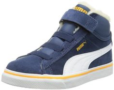 Puma Mid Vulc FUR V Kids 354143, Unisex - Kinder Hohe Sneakers, Blau (dark denim-white-zinnia 05), EU 21 (UK 4.5), (US 5.5) - http://on-line-kaufen.de/puma/21-eu-puma-mid-vulc-fur-v-kids-354143-unisex-kinder-6