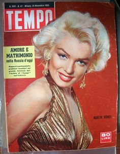 Tempo - November magazine from Italy. Front cover photo of Marilyn Monroe by Gene Kornman, Old Hollywood Stars, Hollywood Icons, Hollywood Walk Of Fame, Vintage Hollywood, Classic Hollywood, Marilyn Monroe Artwork, Marylin Monroe, Diana Dors, Us Actress