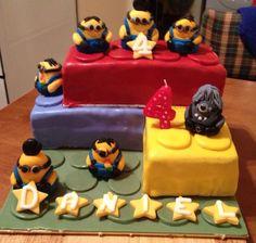 Daniels 4th birthday cake - 2013  Minions take over the Lego!!