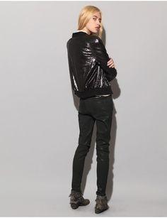 Black sequin bomber jacket