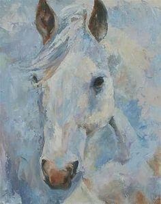 White horse painting, Palette knife painting, original oil by Carol DeMumbrum on Etsy, $325.00