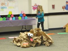 Gloppy/Molasses swamp made from extra packing material. Construction paper for the eyes and mouth. Preschool Themes, Activities For Kids, First Grade Themes, Life Size Games, Board Game Themes, Birthday Candy, Birthday Parties, Library Events, Candy Theme