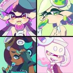 Squid Sisters and Off The Hook Nintendo Splatoon, Splatoon 2 Art, Splatoon Comics, Illustration Kawaii, Splatoon Squid Sisters, Kawaii 365, Pearl And Marina, Callie And Marie, Chibi