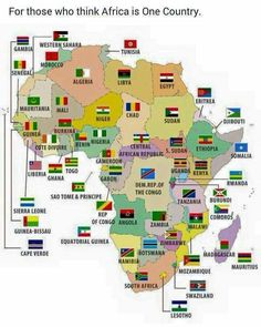 African countries and flags on map Geography Map, World Geography, Africa Flag, Countries And Flags, African Countries Map, List Of Countries, Les Continents, By Any Means Necessary, Art Africain