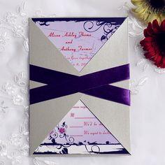 Wedding Invitations Online Vintage Purple Floral Pocket Invitation With Ribbon - Pocket Invitation, Purple Wedding Invitations, Pocket Wedding Invitations, Invites, Invitation Cards, Wedding Colors, Wedding Wishes, Wedding Day, Wedding Stuff