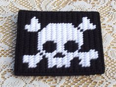 Set of 4 Plastic canvas Skull and crossbone by HomespunCrafting