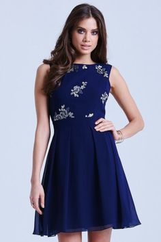 Navy Box Pleat Fit and Flare Dress
