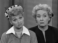 Lucy and Ethel.  The actress that played Ethel was actually younger than Lucy, but dressed and such to look older.