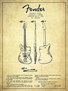 Electric Guitar Patent Drawing From 1959 Poster by Aged Pixel – tipos de guitarra y tocar guitarra Fender Stratocaster, Fender Guitars, Fender Bass, Guitar Drawing, Guitar Art, Guitar Tips, Acoustic Guitar, Basic Guitar Lessons, Patent Drawing