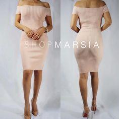 Our Emily ribbed body-hugging midi dress in blush! So perfect! #shopmarsia  Shopmarsia.com
