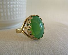Green Opalite Glass Cocktail Ring Gold Flower by theknottedgem
