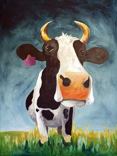 Large Cow Painting Acrylic Art on 30x40 Canvas by LoganBerard on Etsy