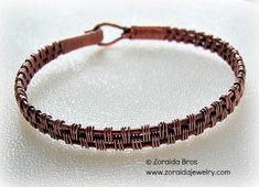 Mens Basket Weave Copper Bracelet