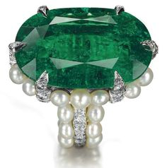 Joel Arthur Rosenthal.  Ring of Colombian emerald, natural pearls and diamonds