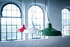 FACTORY 41 cm Grün - lautentico  Emaille Lampe Enamel Lamp Fabriklampe Industrielampe lautentico