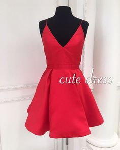 Simple v neck red short prom dress, cute red homecoming dress